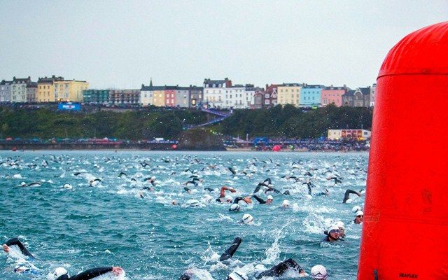 Swimmers at Ironman Wales