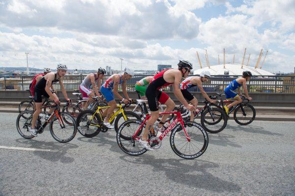 Athletes on the bike at London Triathlon