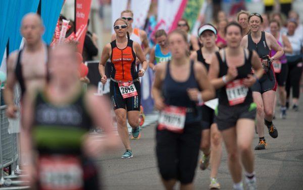 Athletes on the run at the London Triathlon