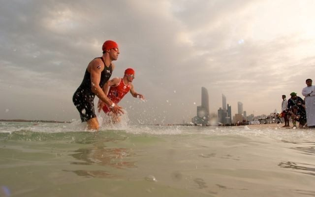 Athletes leaving the water in Abu Dhabi