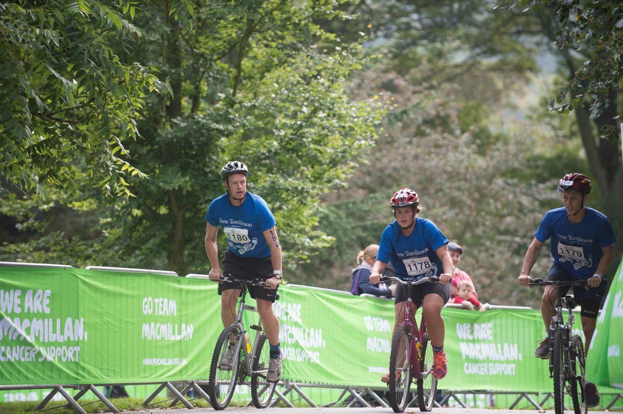 Triathletes on the bike at Brownlee Tri North