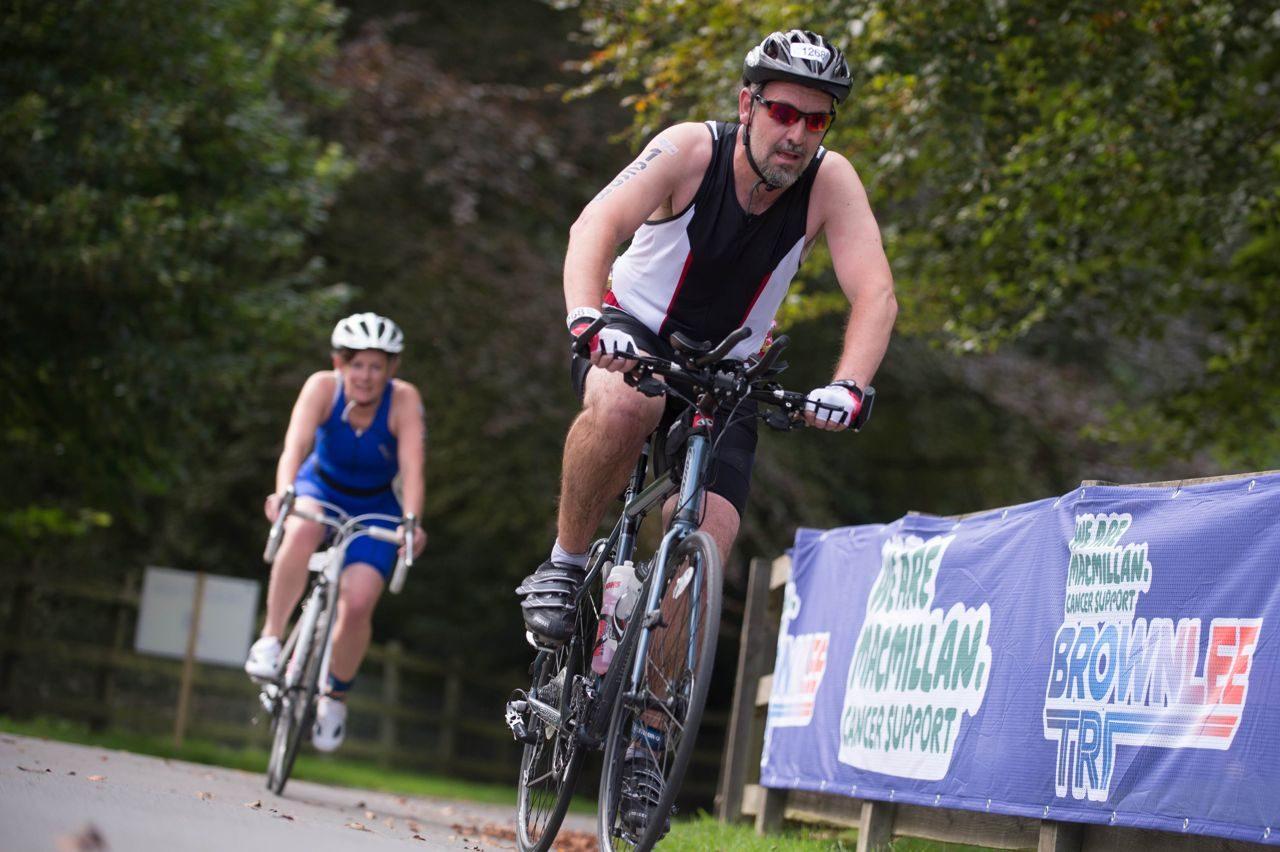 Triathlete racing at Brownlee Tri North