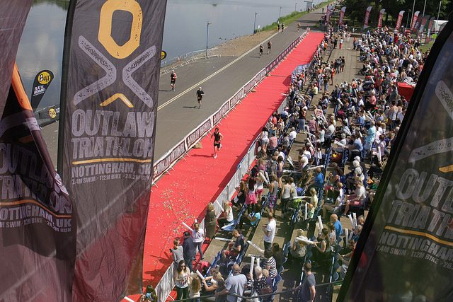 Finish line at the Outlaw Half