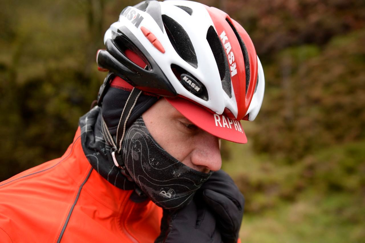 Triathlete wrapping up warm
