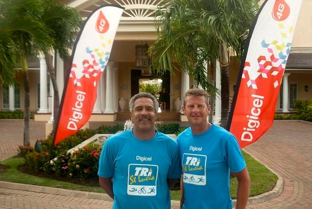 Daley Thompson and Steve Cram at Tri St Lucia