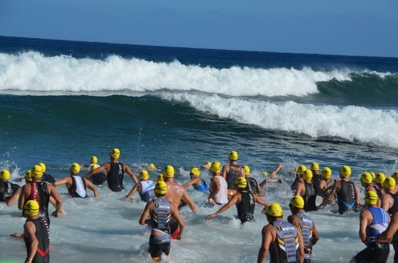 Swimmers entering the water at Xterra Worlds 2014