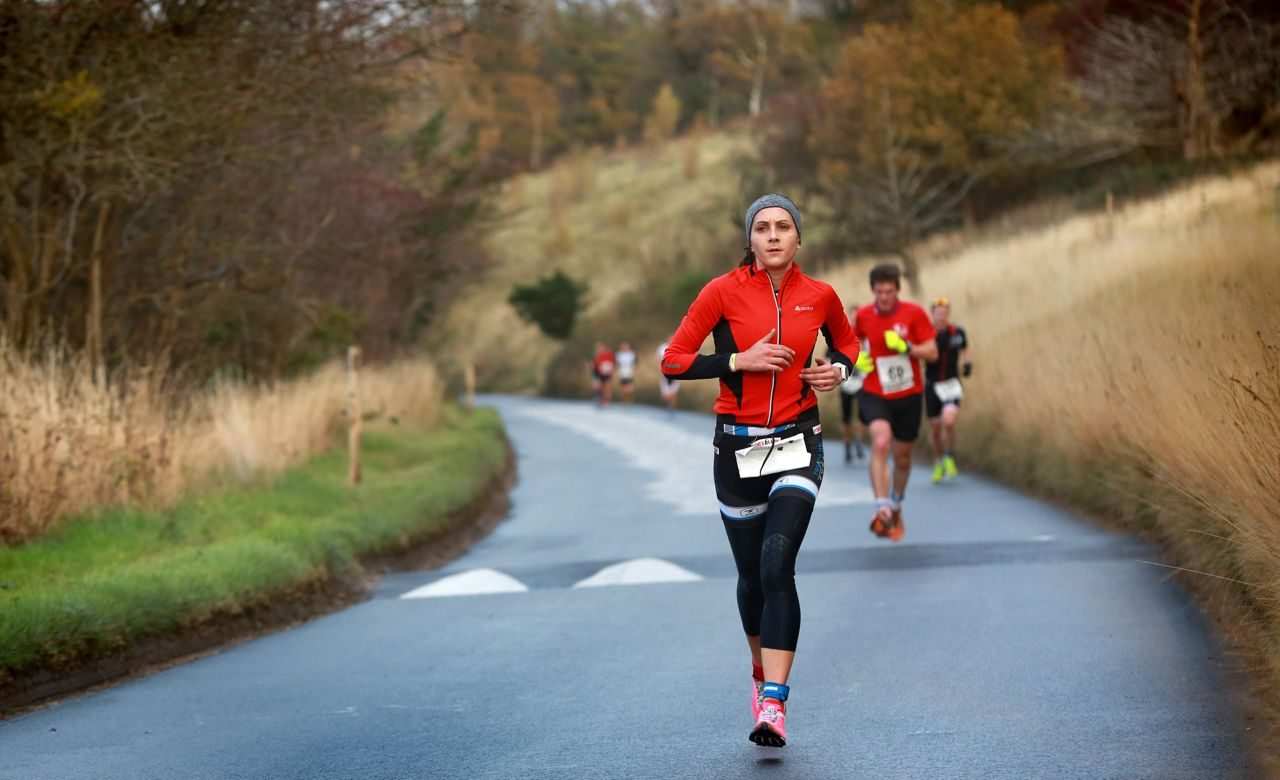Female duathlete on the run