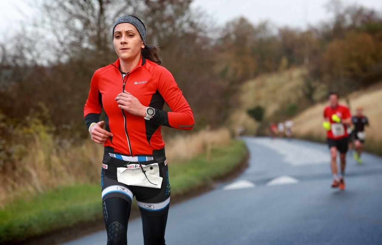 Female triathlete running