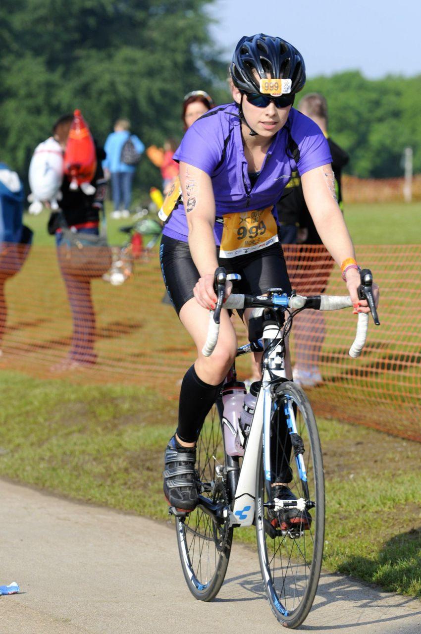 Michelle Willcocks on the bike