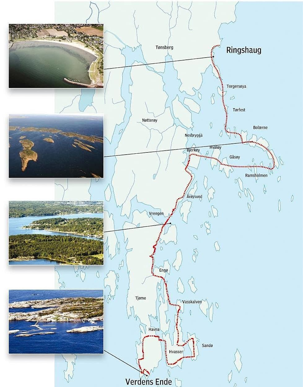 Route for Swimrun Norway
