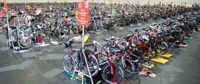 Transition at London Triathlon