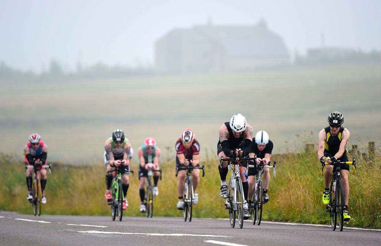 Triathletes on the bike at Ironman UK