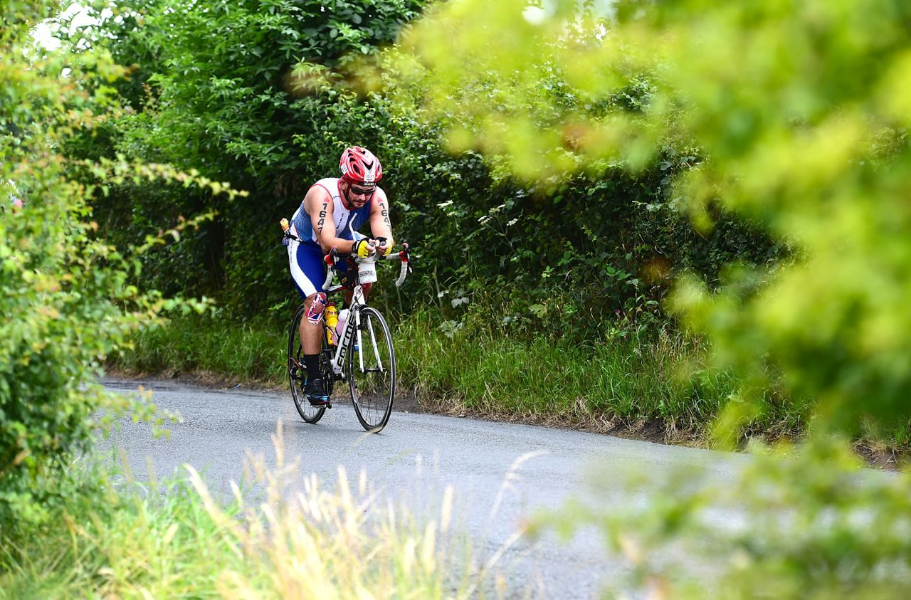 Athlete on the bike at Ironman UK