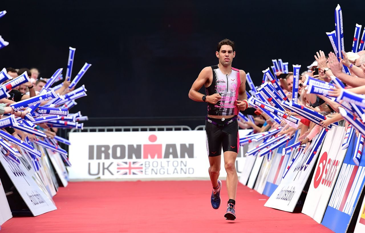 Joe Skipper comes down the finish chute at Ironman UK