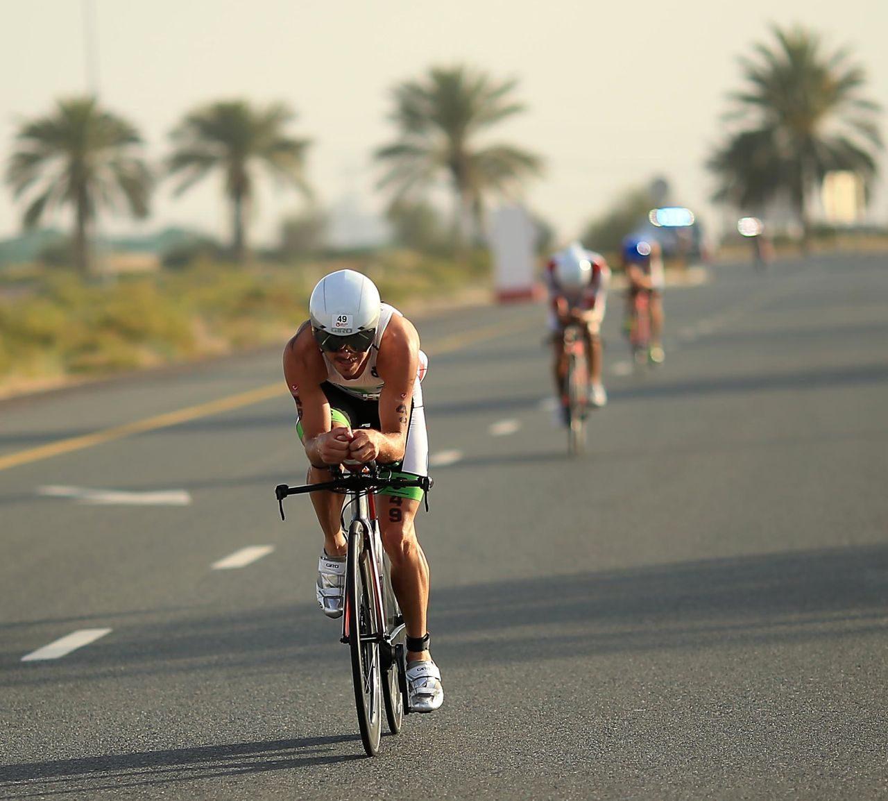 Men on the bike at Challenge Dubai