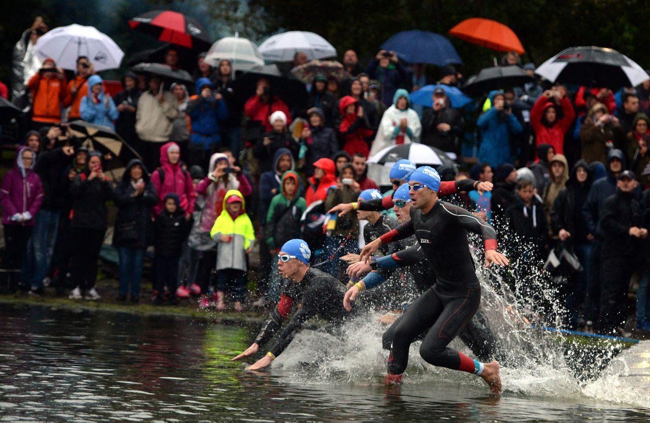 Athletes enter the swim at Ironman UK 2015