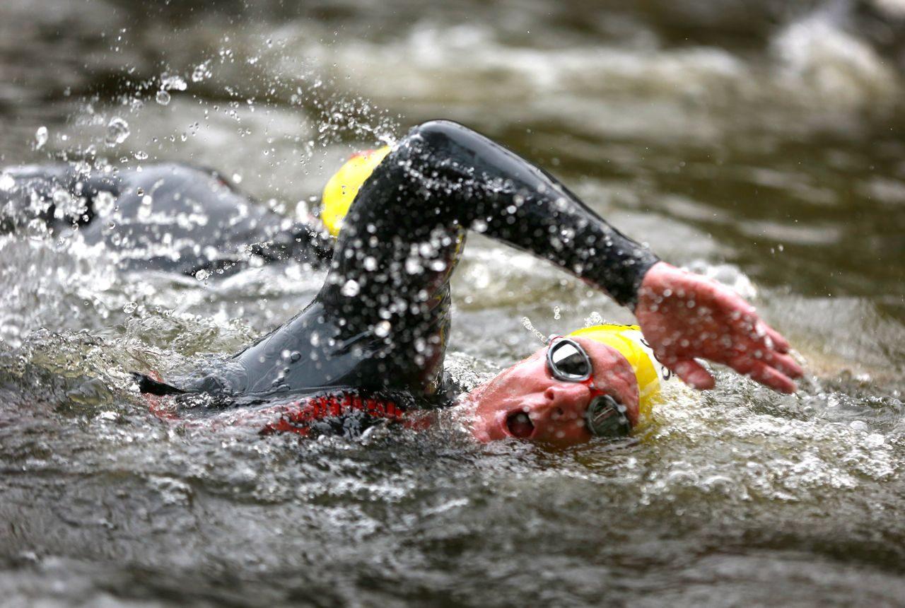Triathlete swimming