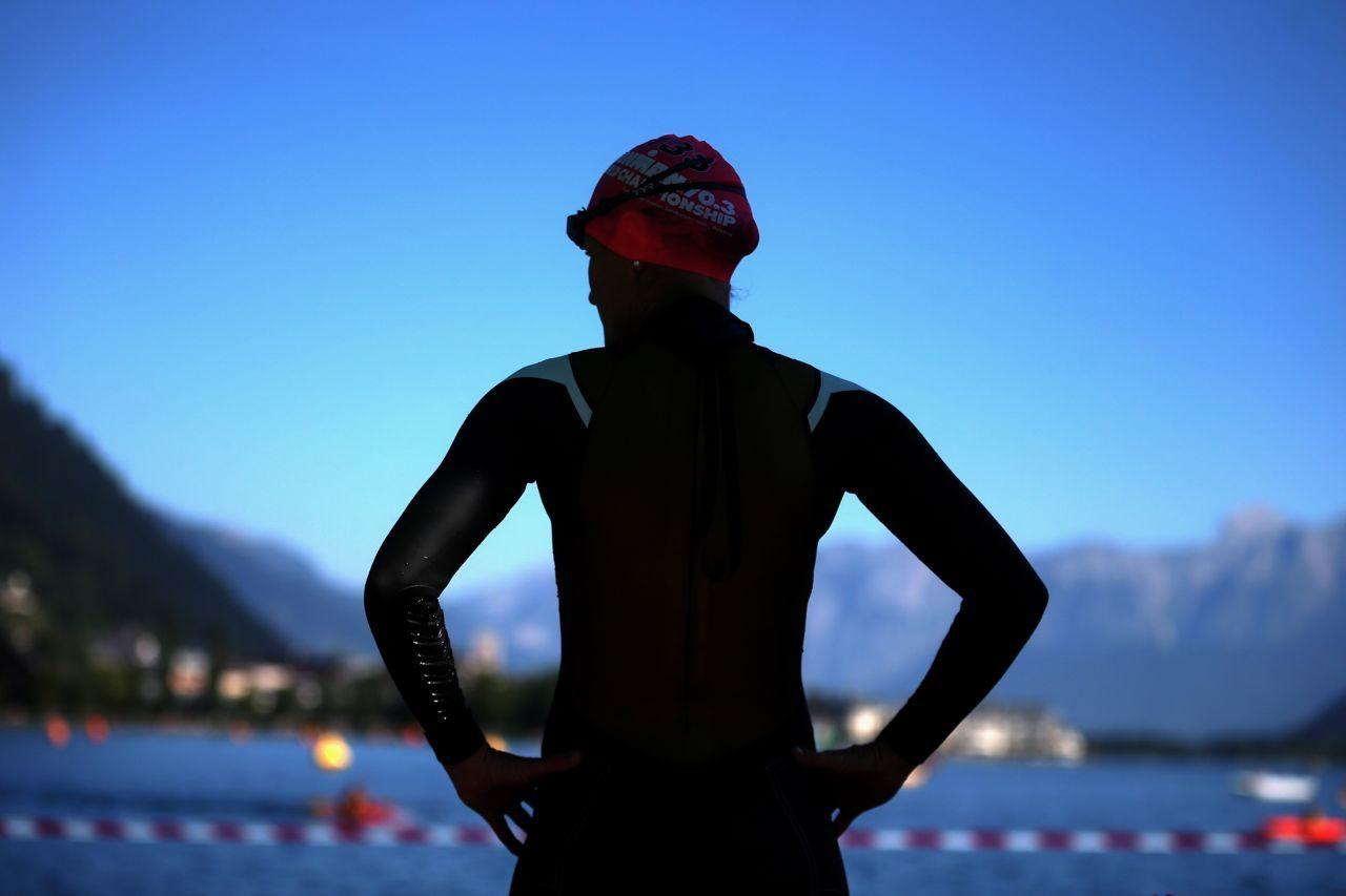 Female triathlete preparing for Ironman 703. World Champs
