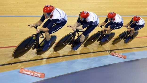 GB track cyclists at London 2012