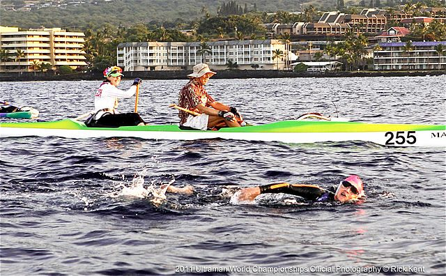 Ultraman Triathlon swimmer off the coast of Kona, Hawaii