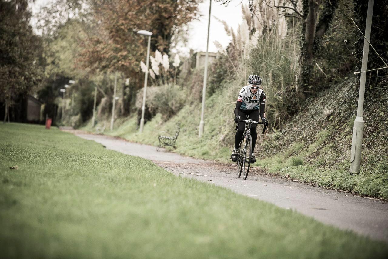 Triathlete in winter bike training