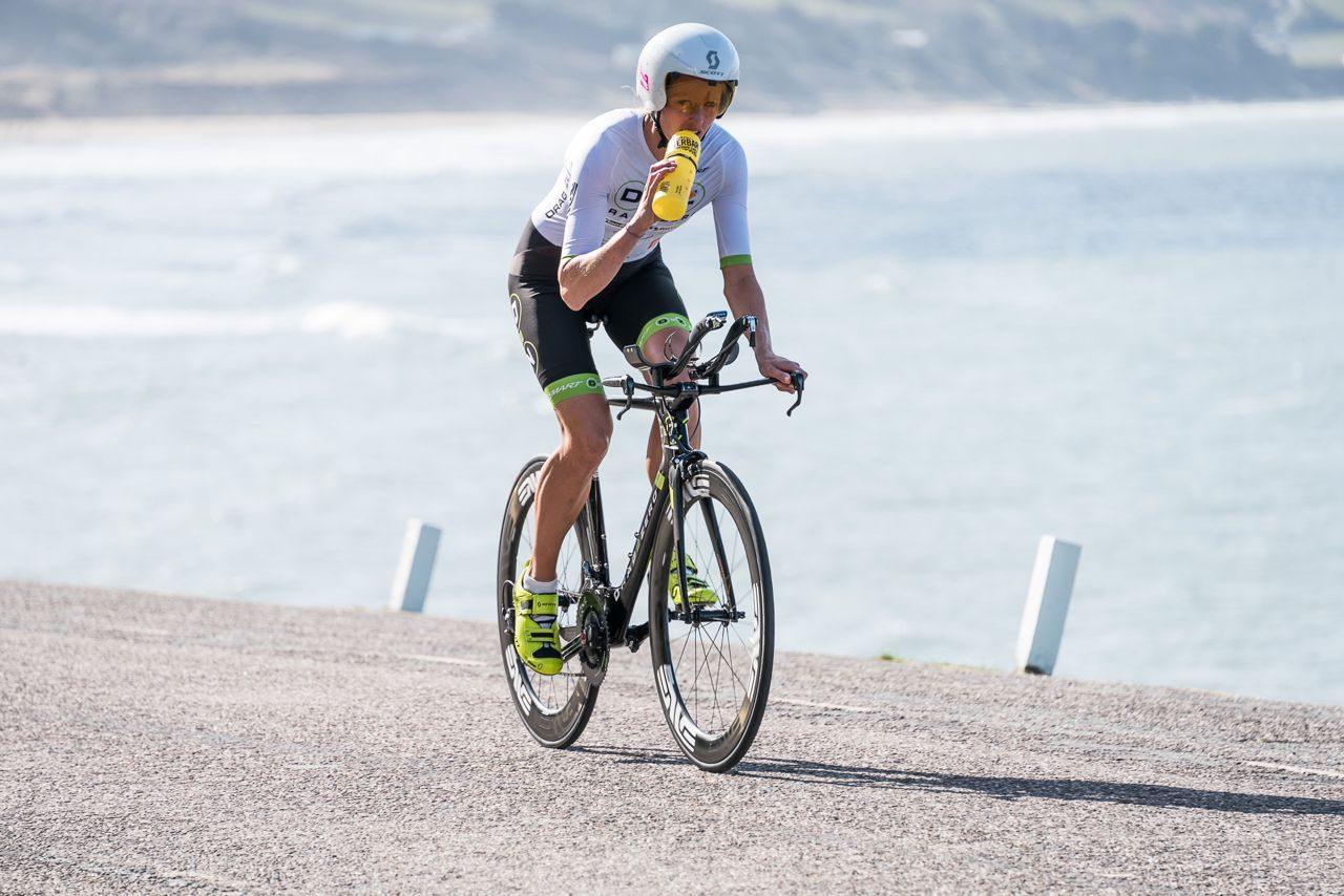 Female triathlete on a training ride