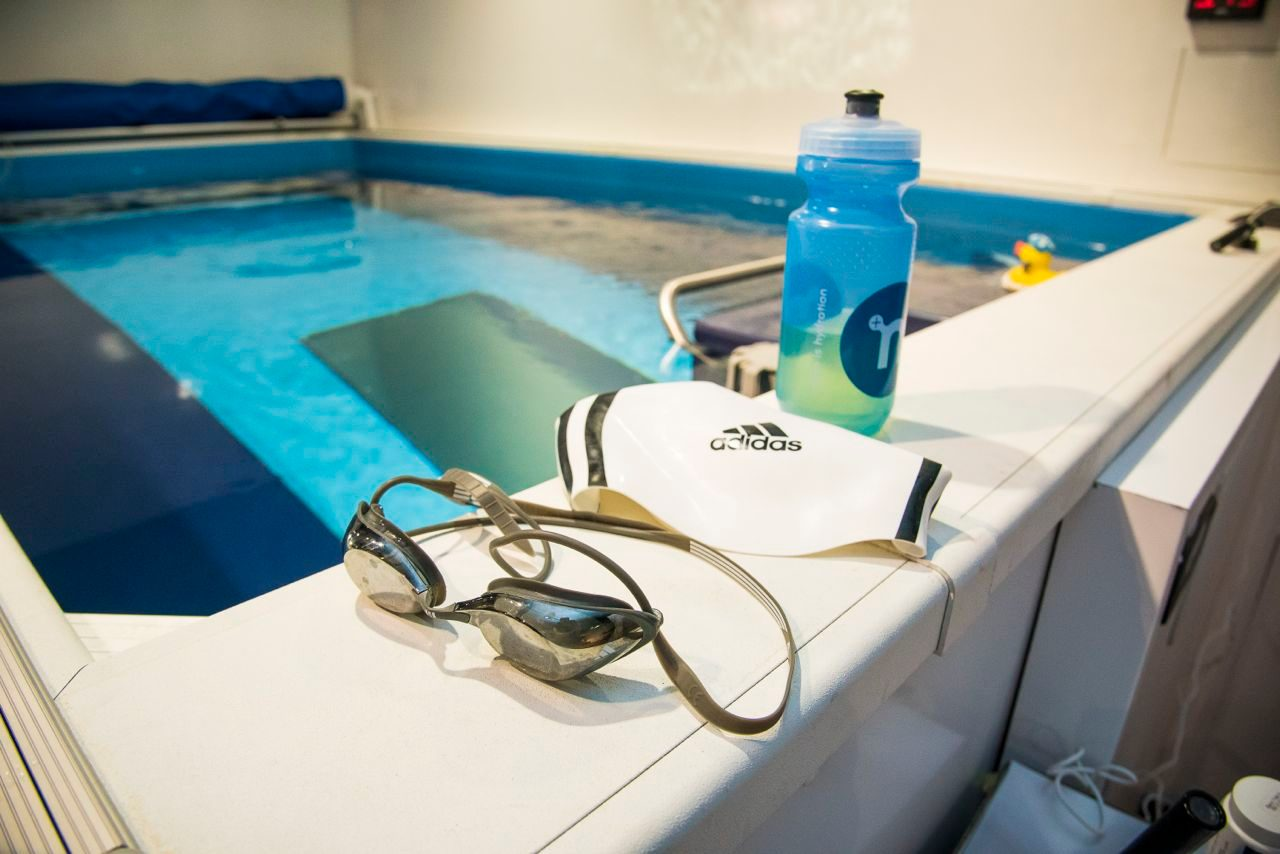 Triathlete in swim training