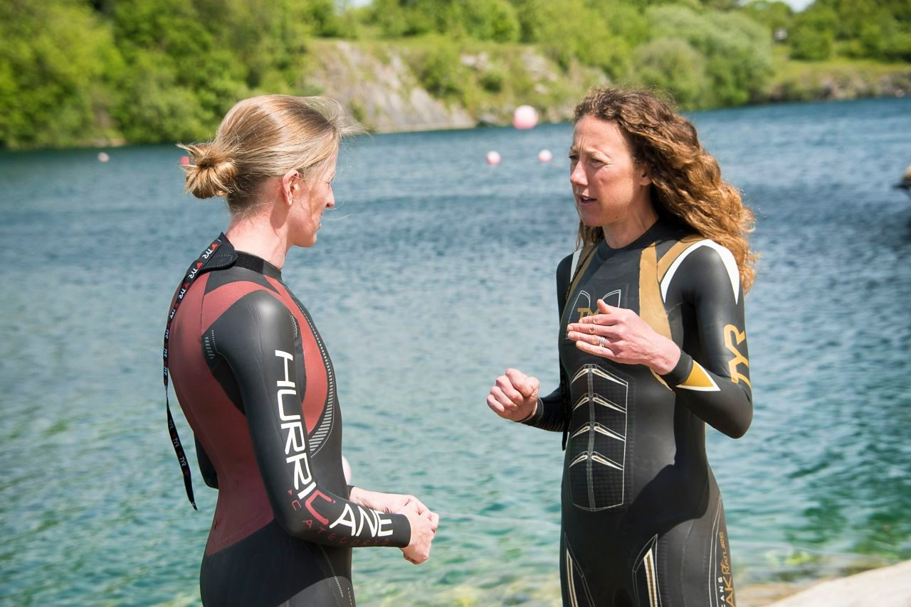 Chrissie Wellington and Katy Campbell at a lake