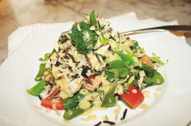 Chicken and veg with pepper dressing