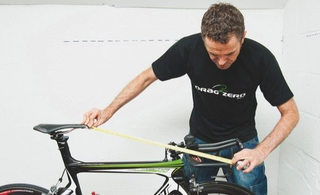 Joe Beer measuring his bike