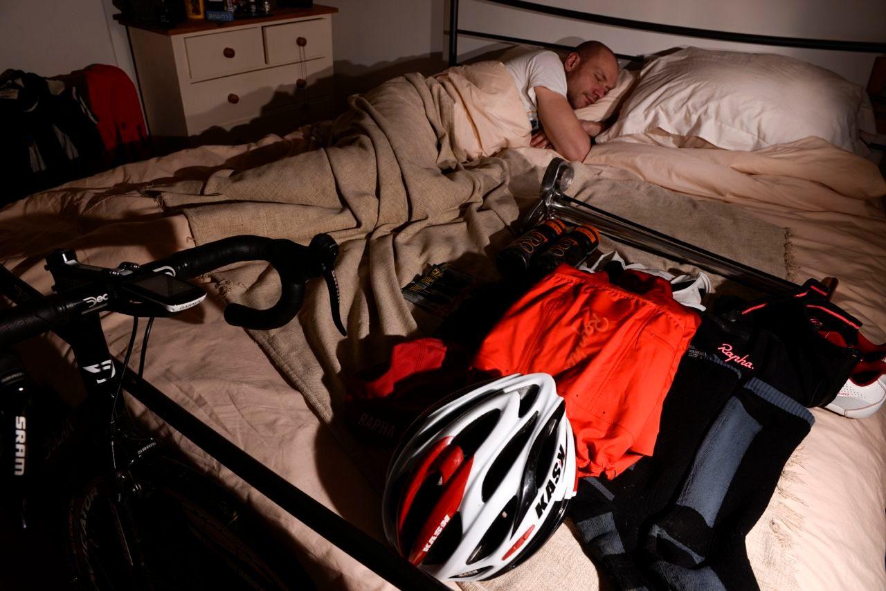 Triathlete sleeping