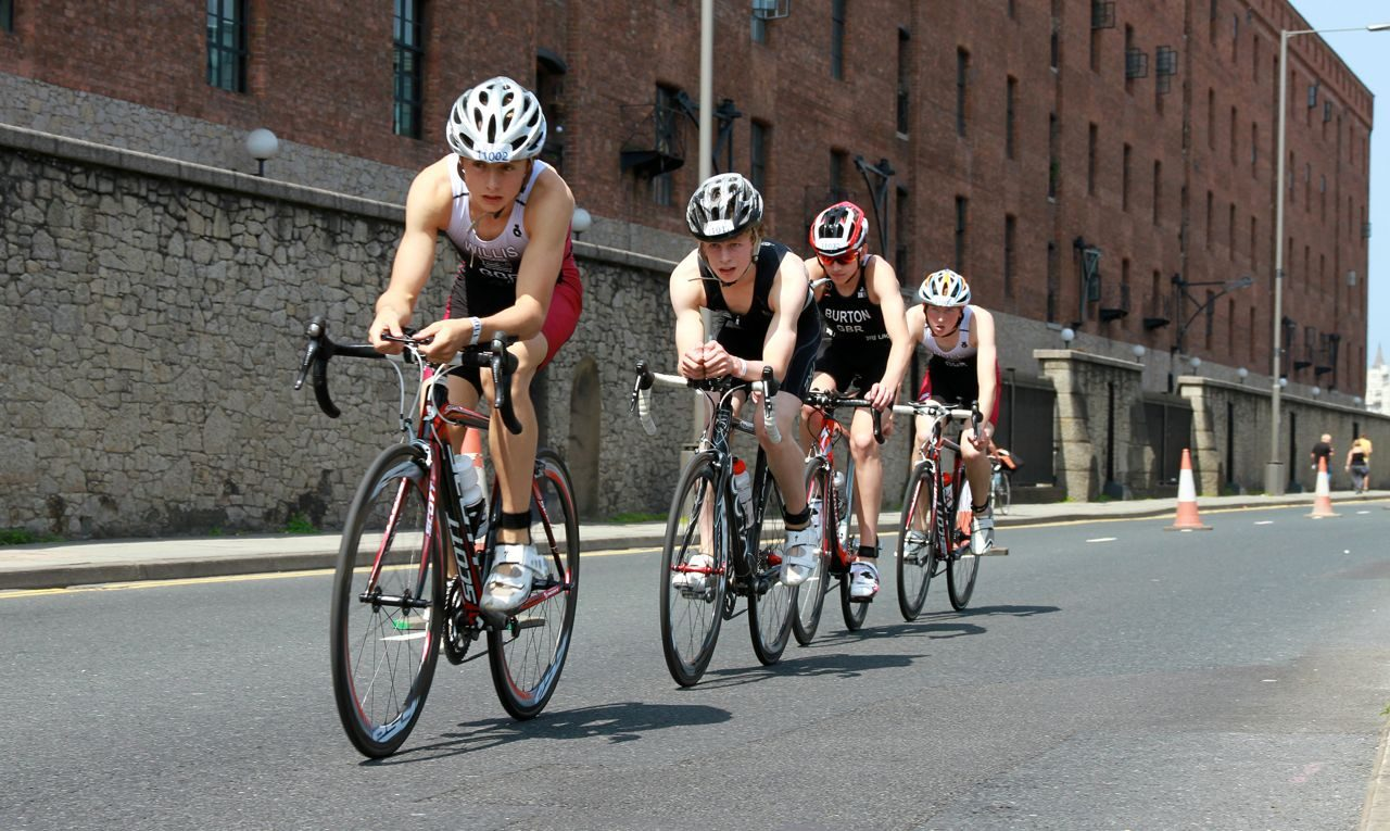 Triathletes on the bike course at Tri Liverpool