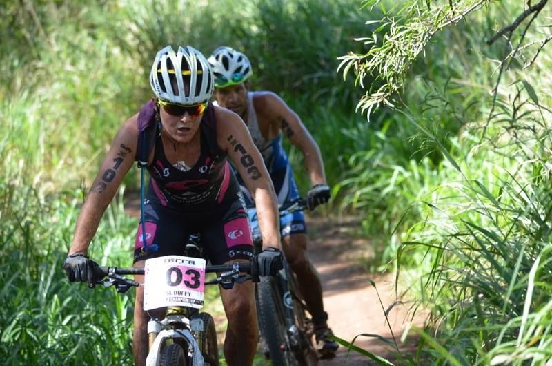 Flora Duffy on the bike at Xterra Worlds