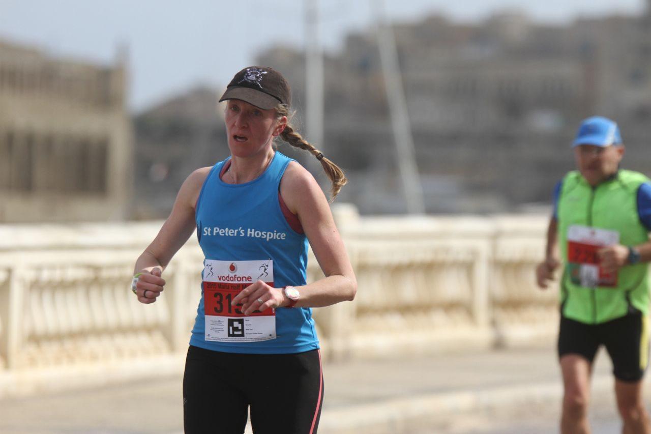 Katy Campbell running at the Malta Half Marathon