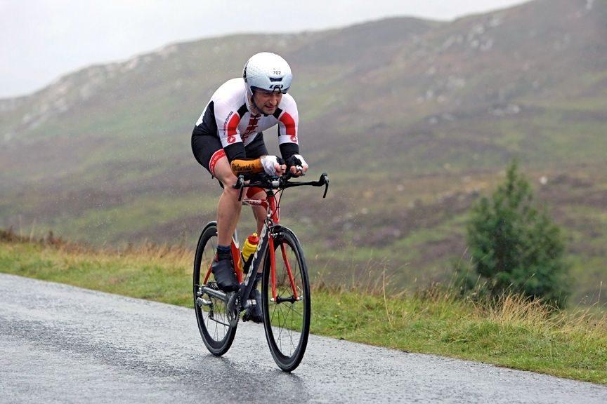 Triathlete on the bike at Aberfeldy Triathlon