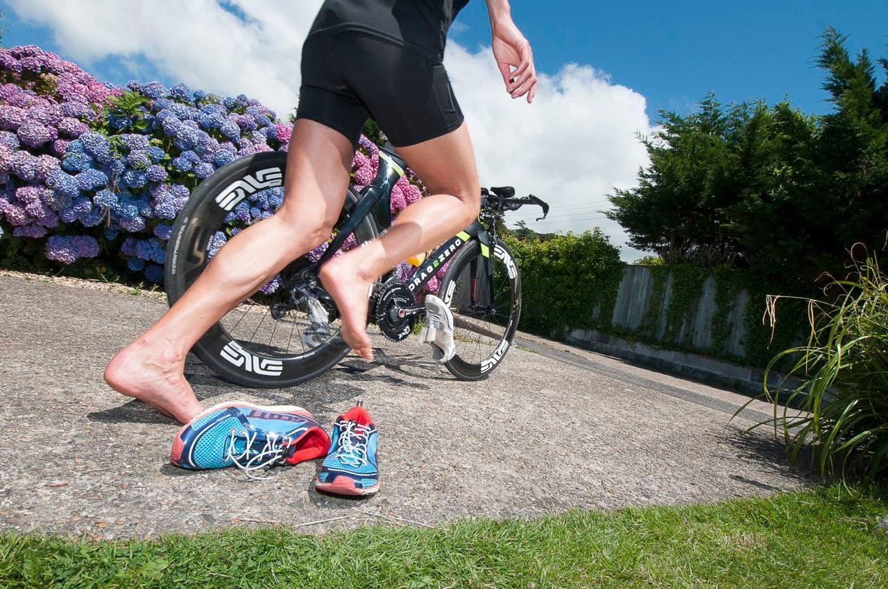 Triathlete practising transitions