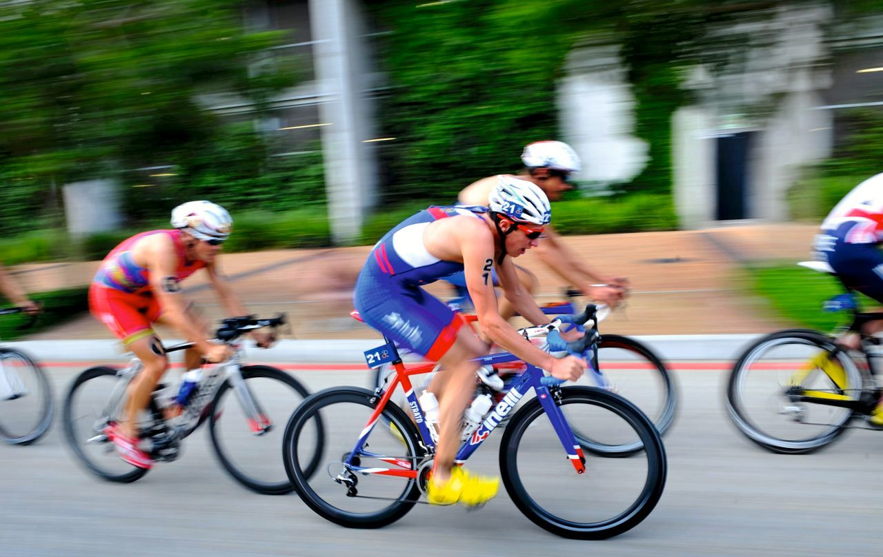 Triathletes racing on the bike leg