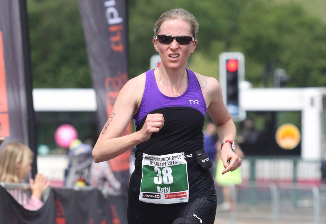 Katy Campbell on the run at Bristol Harbourside Triathlon