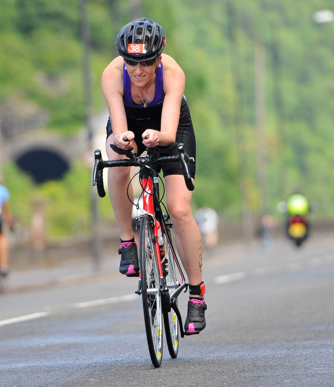 Katy Campbell on the bike at Bristol Harbourside Triathlon