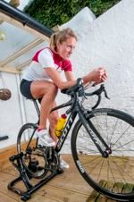 Female triathlete on the turbo trainer