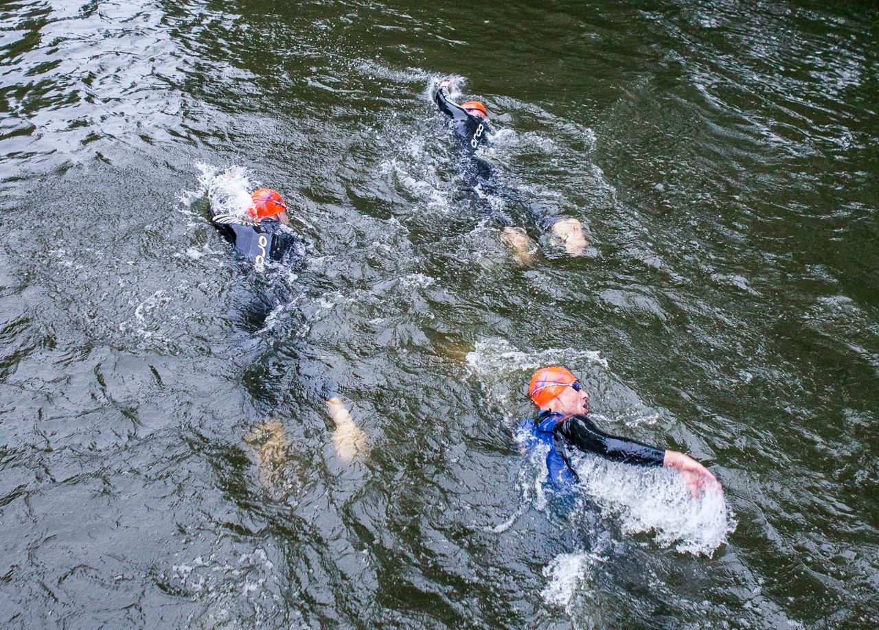 Triathletes swimming at Hever Castle Triathlon