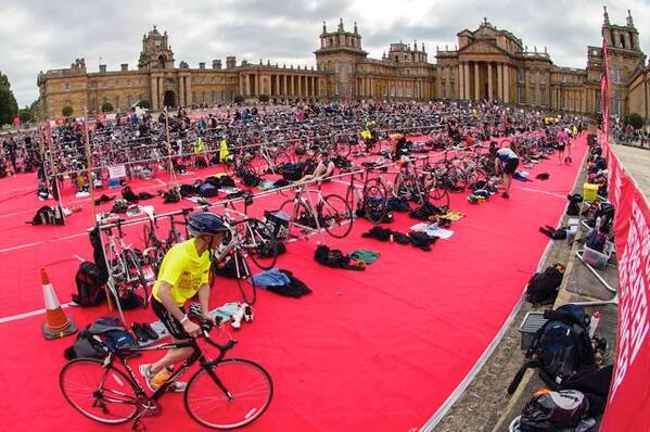 Triathlete in transition at Blenheim Palace Triathlon