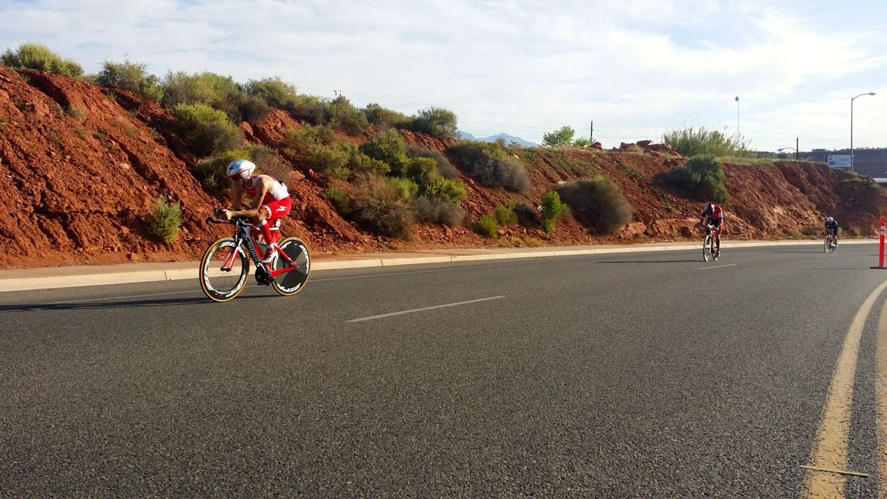 Male triathletes on the bike at Ironman 70.3 St George 2015