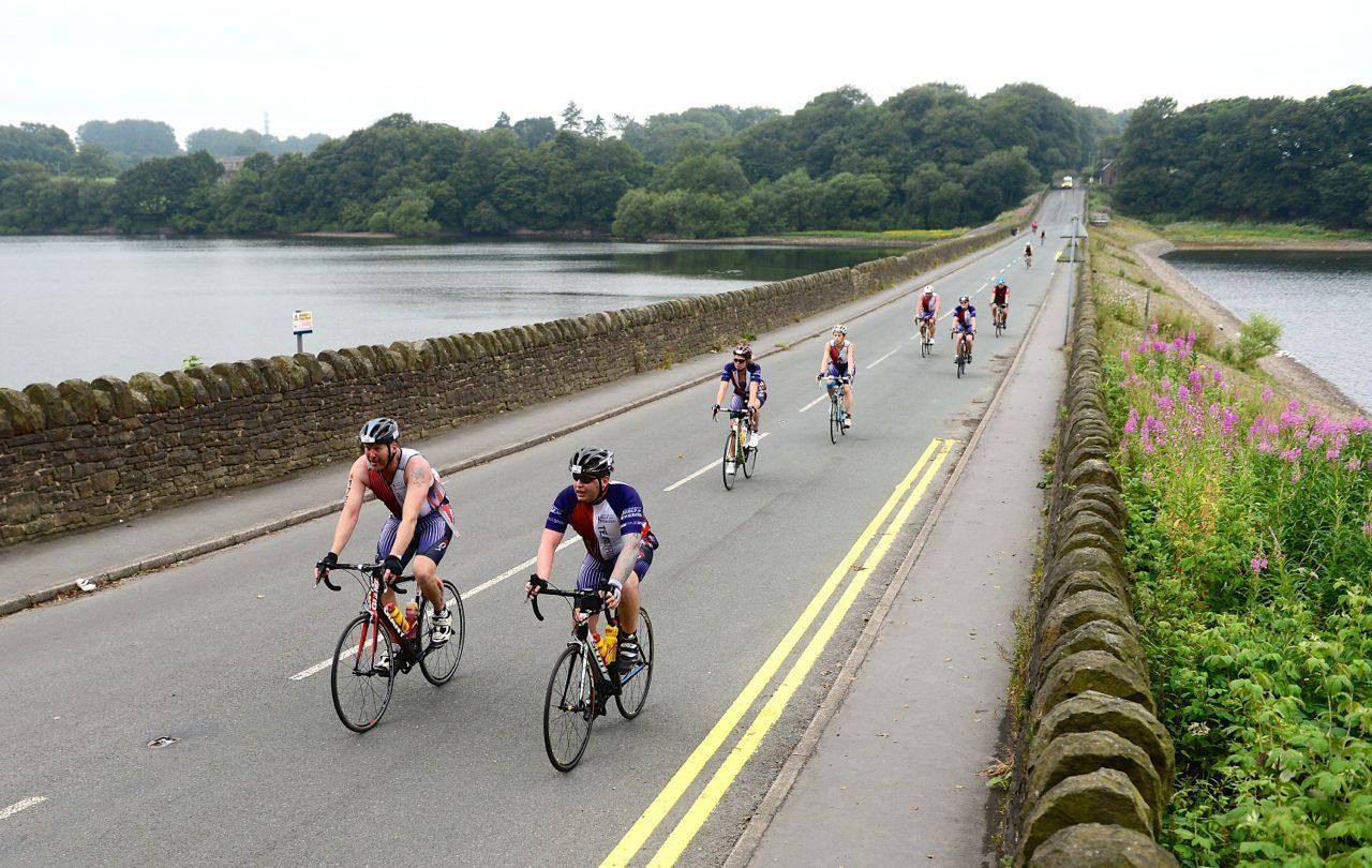 Athletes cycling at Ironman UK