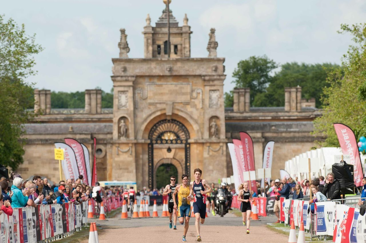 Athletes racing at the Blenheim Palace Triathlon