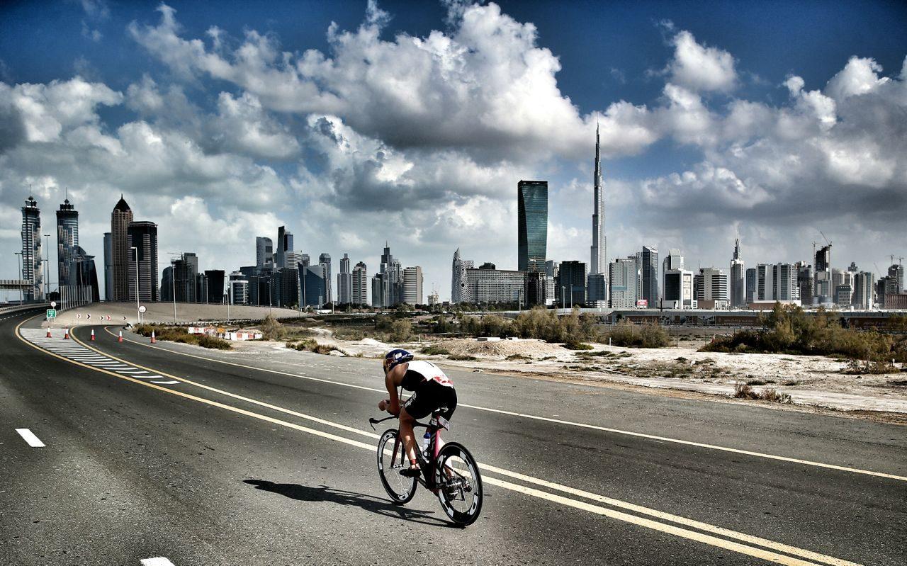 Male athlete on the bike at Challenge Dubai