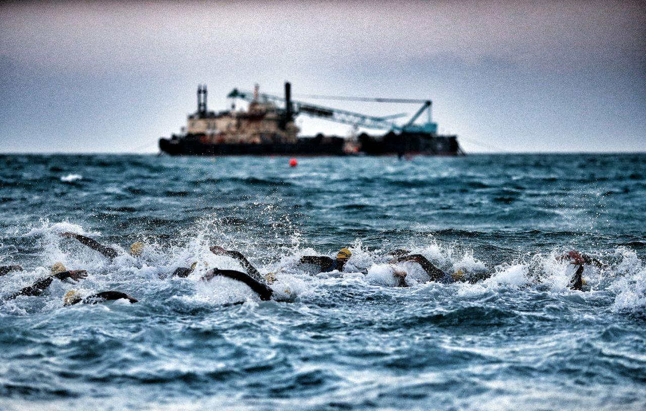 Athletes swimming at Challenge Bahrain