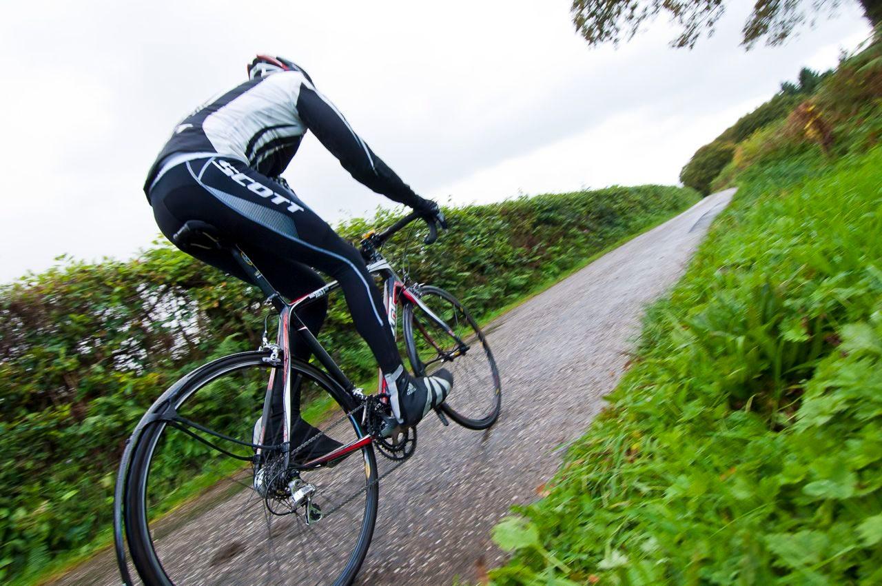 Triathlete in bike training