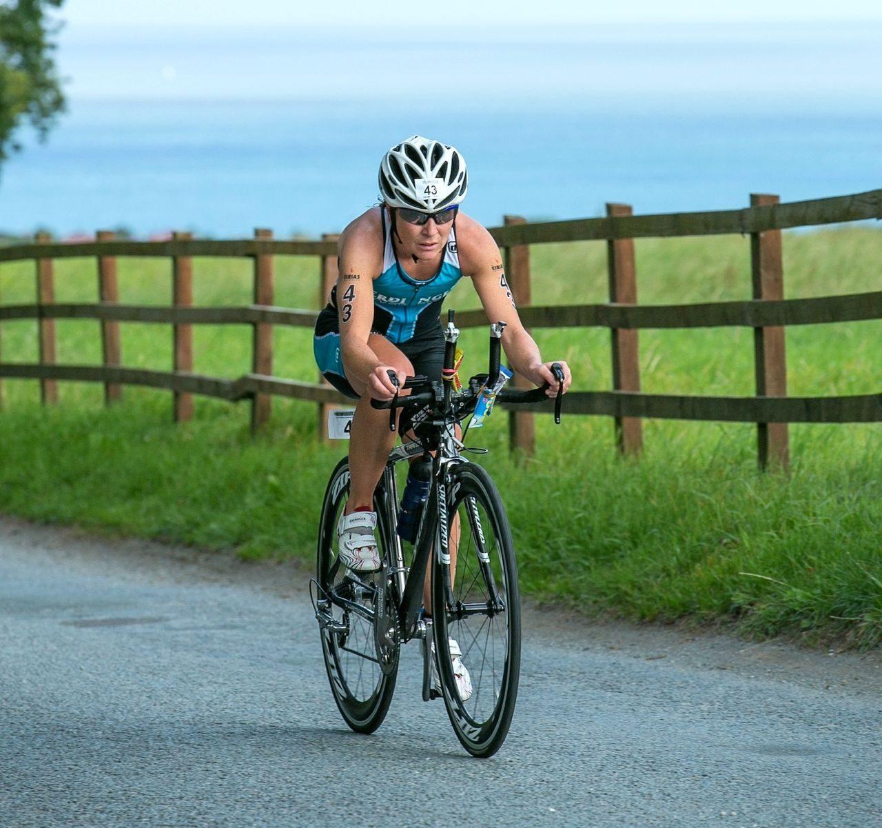 Carol Bridge racing at the Eirias Triathlon 2014