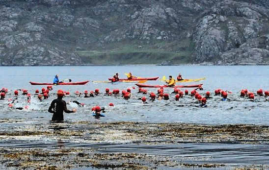 Athletes enter the water for Celtman